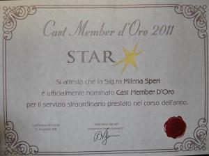 ATTESTATO Cast Member d'Oro 2011